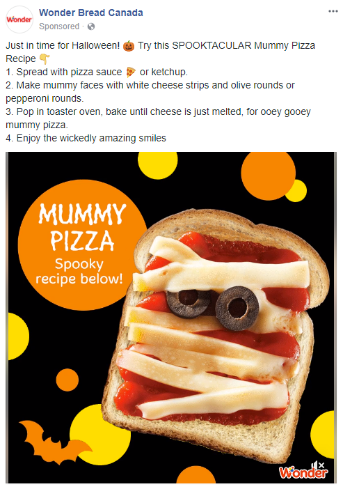 An ad for Wonder Bread suggesting the reader put pizza sauce (or ketchup) on a piece of bread, lay down strips of -- quote unquote -- white cheese, and toast until barely melted to make what they term is a Mummy pizza.